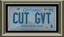 "Licence plate: ""CUT GVT"""